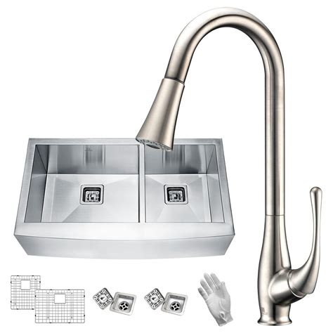 farmhouse faucet kitchen anzzi elysian farmhouse stainless steel 36 in 60 40 bowl kitchen sink with faucet in
