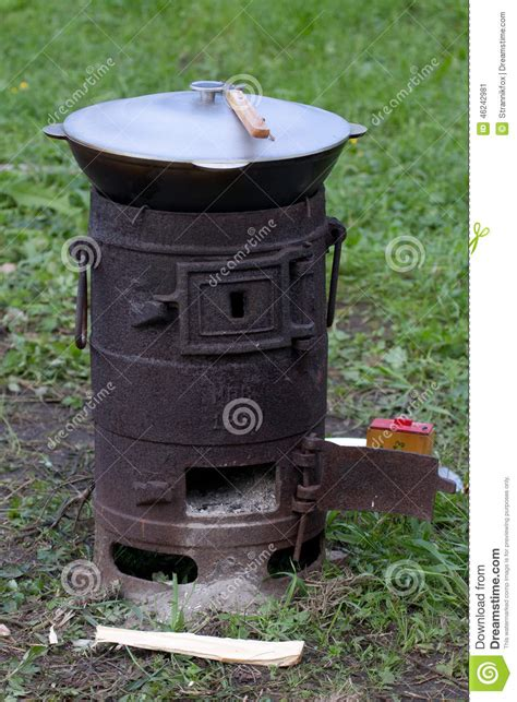 outdoor cast iron stove   bowler stock image image