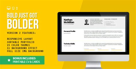 Bold 2 Better Responsive Resume Cv Print Bonus By Qbkl Themeforest Responsive Resume Template