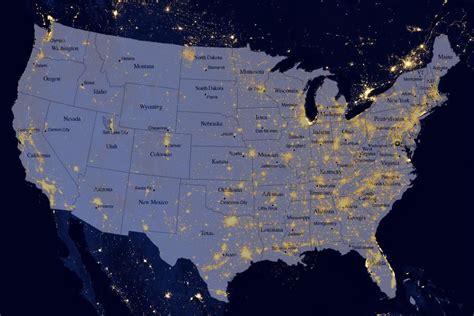 map of the united states satellite satellite map of us at night at night over usa the united