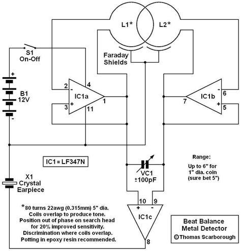 bfo metal detector circuit diagram bfo metal detector using lf347n measuring and test