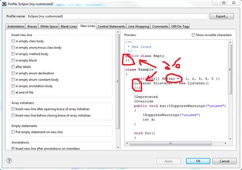 java pattern empty line java removing new lines before empty blocks in eclipse