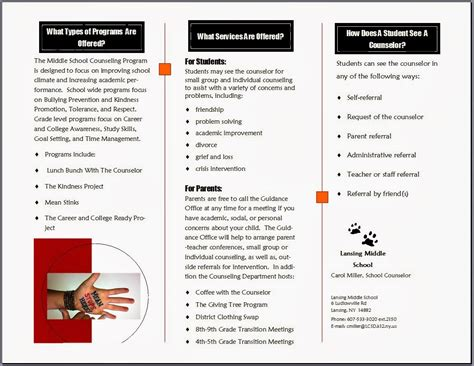 November 2013 The Middle School Counselor Counseling Brochure Templates