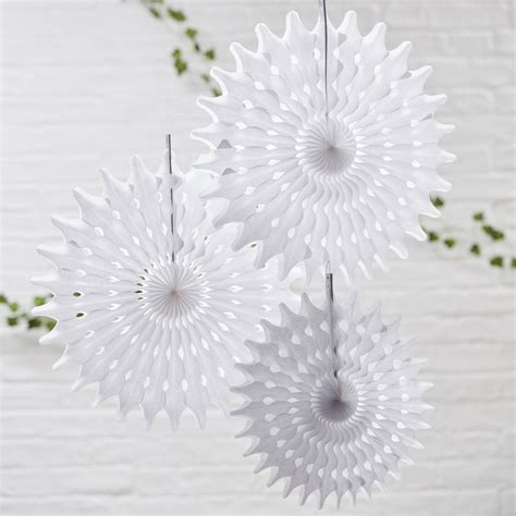 How To Make Hanging Paper Fans - white tissue paper hanging fan wedding decorations by