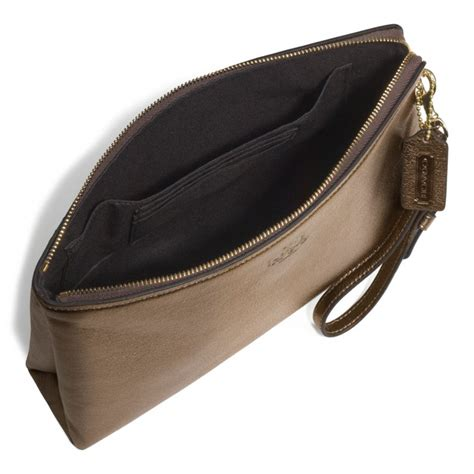 Clutch Pouch coach bleecker large pouch clutch in metallic leather in