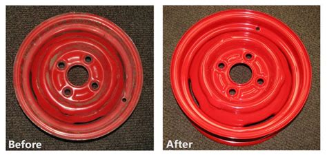 powder coated steel wheels before after http www powderkegcoatings powder coating