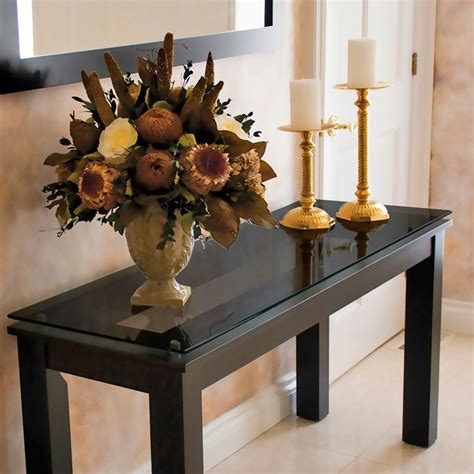Long Wood Rectangle Console Table With Black Glass Top And Sofa Table Decorating