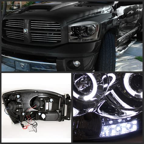 smoked dodge ram headlights hid xenon 06 08 dodge ram dual eye halo led