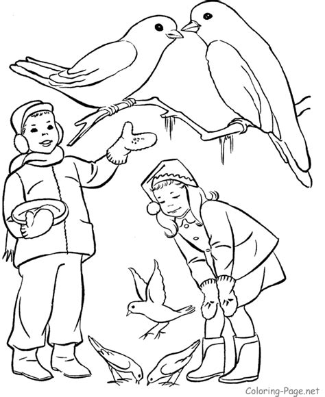 winter coloring book page feeding the birds