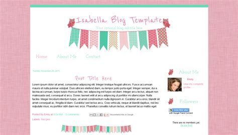 cute pink party owl bunting blogger template bd web studio