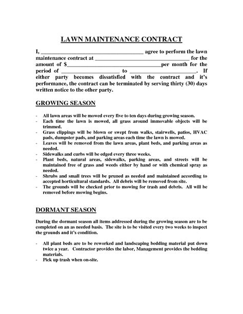 Lawn Maintenance Contract Images Lawn Maintenance Contract Agreement Real State Pinterest Simple Lawn Care Contract Template