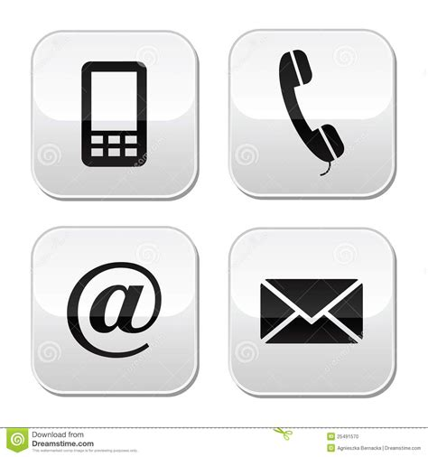 Wb 9916 Set contact buttons set email envelope phone mobi stock