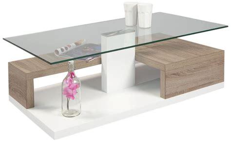 Attrayant Table Basse En Verre Relevable #2: Table-basse-design-blanche-laquee-et-bois-avec-plateau-en-verre-luicie.jpg