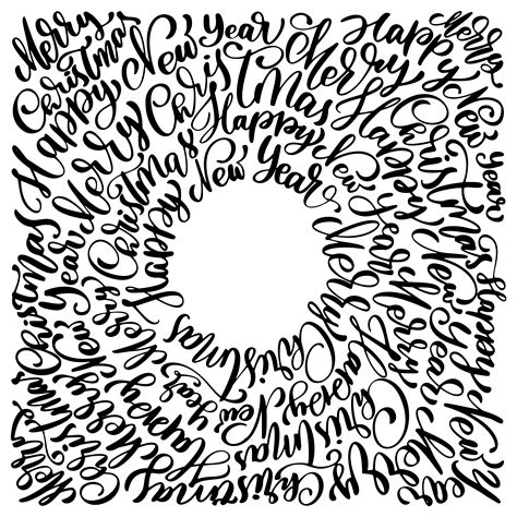 texts merry christmas hand written   circle calligraphy lettering handmade vector