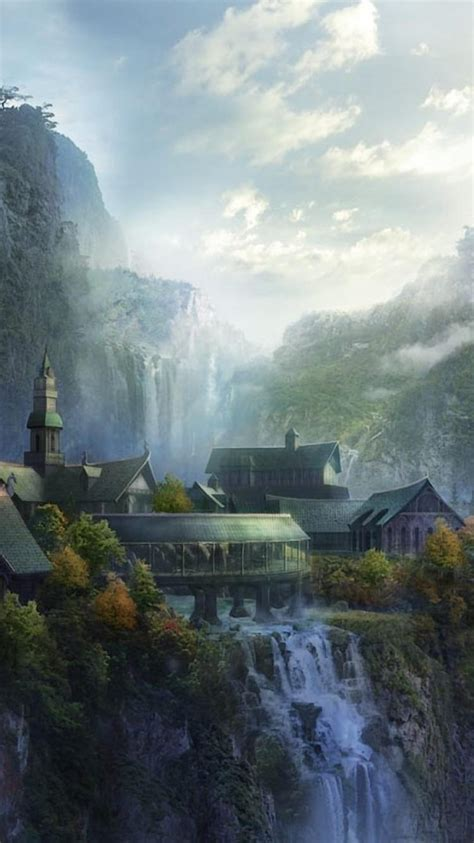 rivendell  lord  rings artwork clouds wallpaper