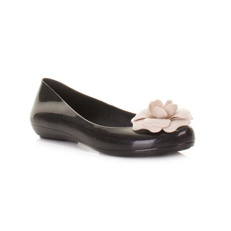 flower flat shoes womens mel pop special shoes black constrast flower flat