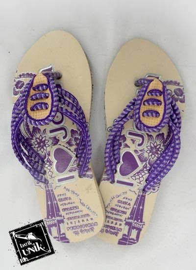 Sandal Jepit Wanita Motif Batik Biru Sendal Kaki Unik Special Edition sandal batik jogja jepit 3 tali sendok sandal etnik
