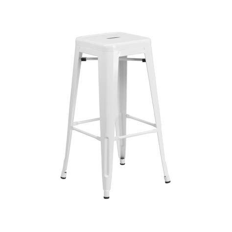 White Bar Stool by Classic Solid White Tolix Bar Stool