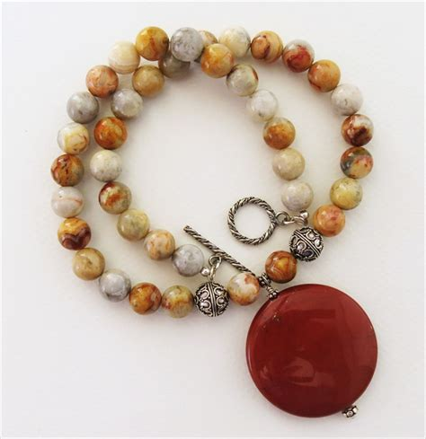handmade lace agate necklace handmade jewelry