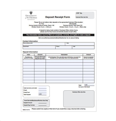 Ms Word Deposit Receipt Template by 20 Deposit Receipt Templates Doc Excel Pdf Free