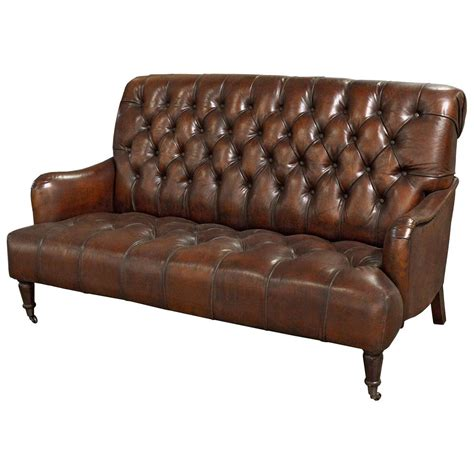 tufted leather settee barren rustic lodge tufted vintage brown leather castors