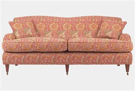 William Morris Sofa by Cden Sofa In Sanderson Kennet Raspberry Yellow