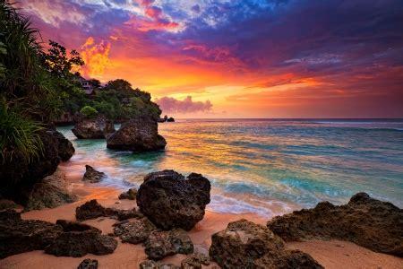 sunset  hidden beach bali beaches nature background