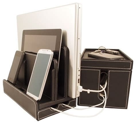 small charging station black leatherette multi charger and cord cubby combo
