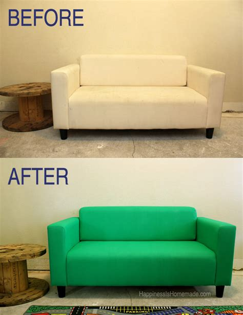 painted sofa how to paint fabric furniture the budget decorator
