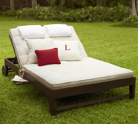 chesapeake double chaise  cushion traditional outdoor chaise lounges  pottery barn