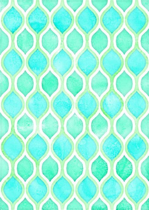 pattern aqua blue watercolor pattern in aqua lime mint on white art print