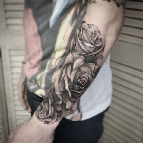 logan tattoo black and grey realism roses by me logan bramlett
