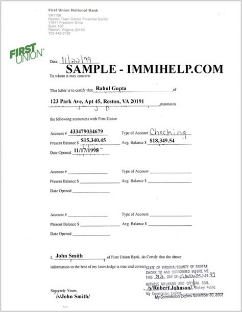 bank account verification letter free printable documents