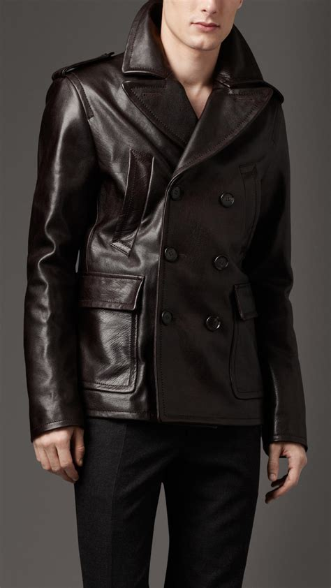 black leather pea coat mens burberry leather pea coat in black for lyst