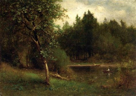 Landscape Artist George Crossword River Landscape By George Inness