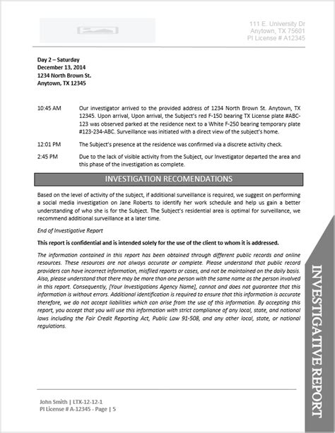 investigator surveillance report template investigator report template document downloads