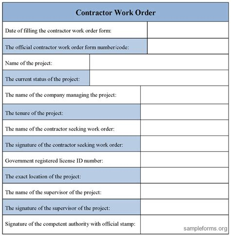 Contractor Work Order Form Sle Forms Construction Work Order Template Excel
