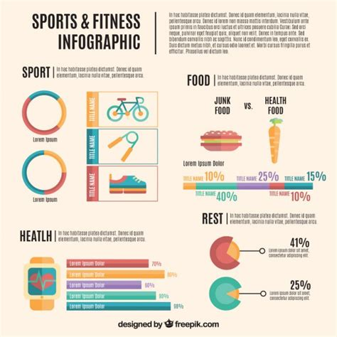 sports infographics templates sports and fitness infography flat design vector free