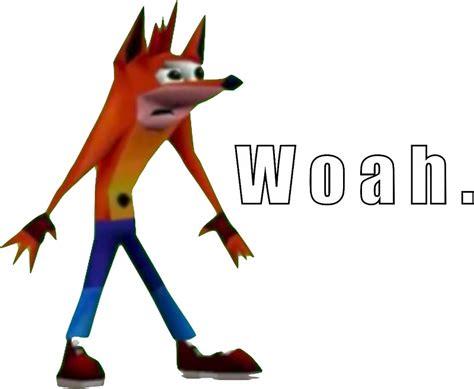 Crash Bandicoot Meme - quot crash bandicoot quot woah quot meme t shirt more quot stickers by