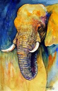Elephants artwork animal painting original watercolor elephant animal