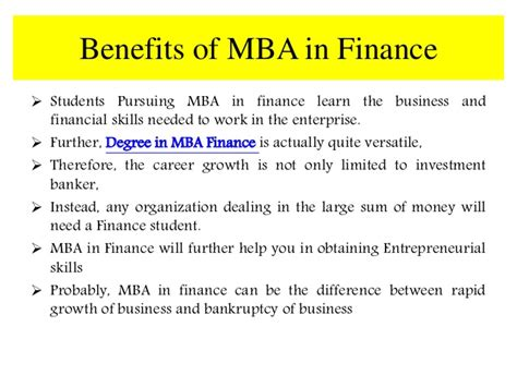 Benefits Of Mba In Finance smu distance learning mba in finance
