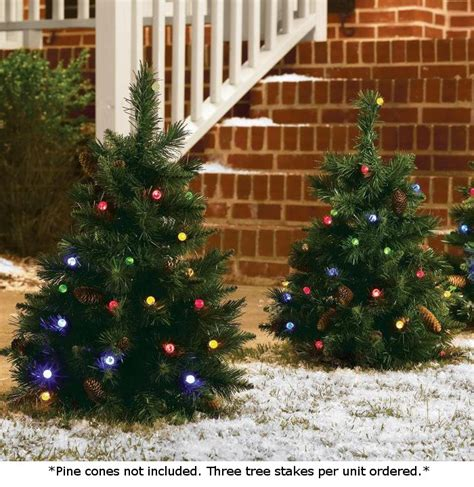 set of 3 cordless pre lit led 24 inch yard christmas trees