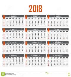Calendario 2018 Con Semanas Calendario Para 2018 Comienzo De La Semana El Domingo