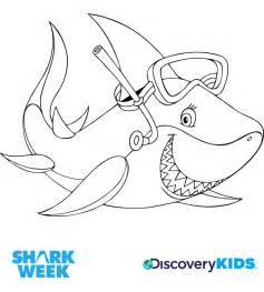 snorkel shark coloring discovery kids