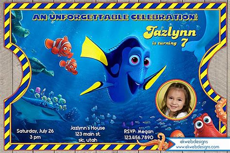 Finding Dory Birthday Invitation Personalized With Or Without Photo Vintage Ticket Style Finding Dory Birthday Invitations Template
