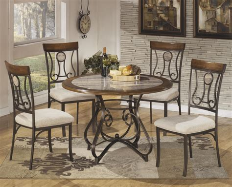5 dining table set with steel frame faux marble table top by signature design by