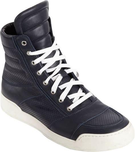 balmain mens sneakers balmain perforated high top sneakers in blue for navy