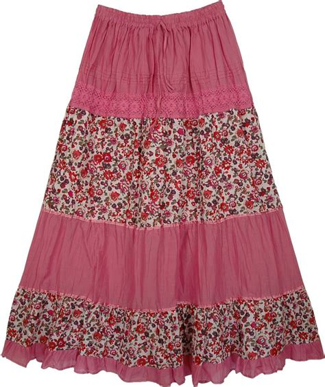 Flower Skirt Rok laced pink flowers skirt cadillac pink floral