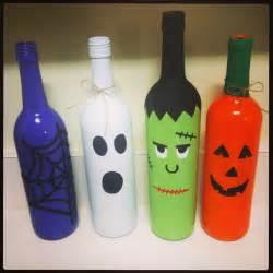halloween bottle decorations spray painted halloween wine bottles garden pinterest