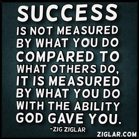 Zig Ziglar Thank You Letter quot success is not measured by what you do compared to what